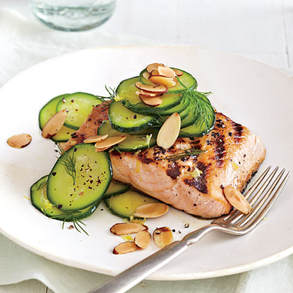 Michael Symon's Grilled Salmon and Zucchini Salad Recipe