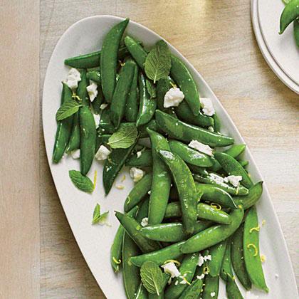Sauteed Snap Peas with Ricotta Salata and Mint
