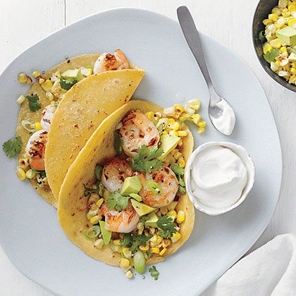 Shrimp Tacos with Corn Salsa