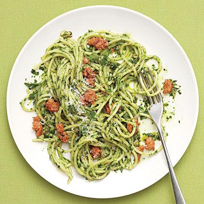 Spaghetti with Parsley Pesto and SausageRecipe