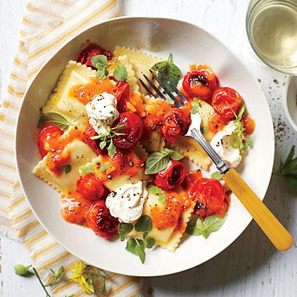 Pasta with Burst Tomatoes and Mascarpone