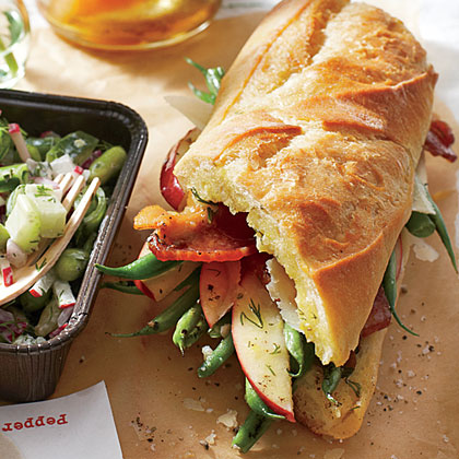 Roasted Green Bean, Apple, and Bacon Sandwiches