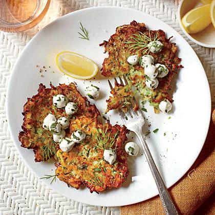 Zucchini Fritters with Herb-and-Mozzarella SaladRecipe
