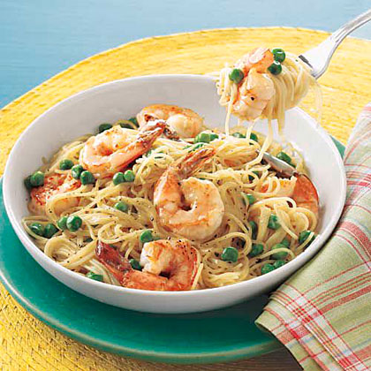Angel Hair with Shrimp and PeasRecipe