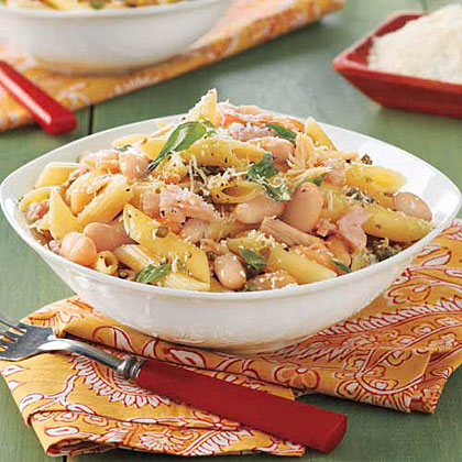 Penne with Tuna, Capers and Beans Recipe