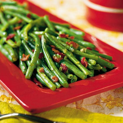Saut ed green beans with bacon recipe myrecipes for Easy thanksgiving green bean recipes