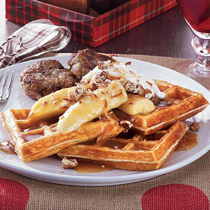 Tropical Bananas Foster Waffles Recipe | MyRecipes | MyRecipes