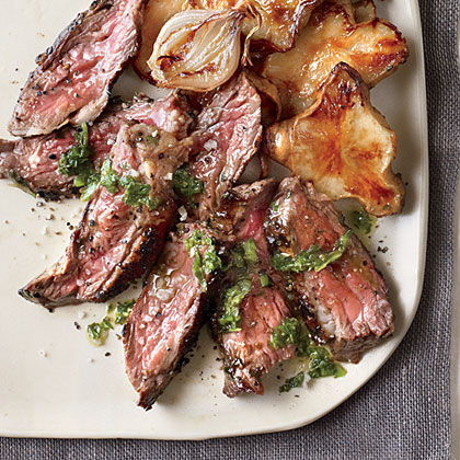 Grilled Skirt Steak with Mint Chimichurri and Honey-Roasted Sunchokes Recipe