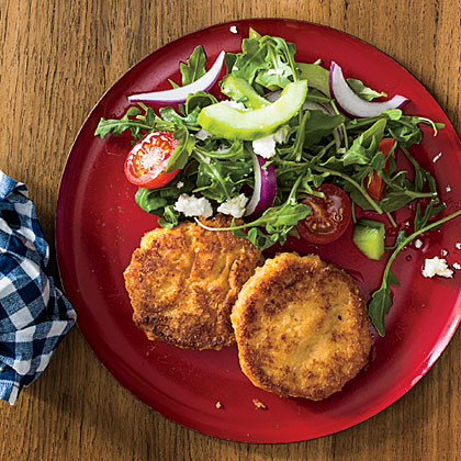 Hummus-and-Rice Fritters with Mediterranean Salad Recipe