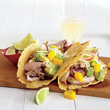 Pork Tacos with Mango Slaw
