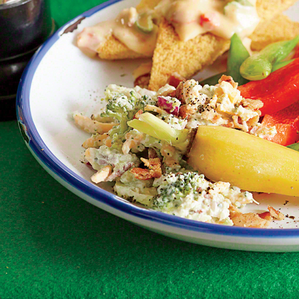 Broccoli Salad Dip RecipeSpin the old-school salad into a dip, and pair with everything from crudités to pretzel rods.