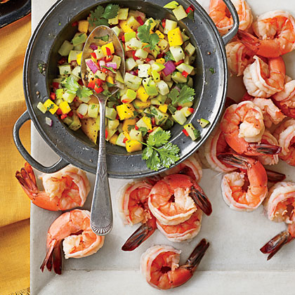 Cider-Poached Shrimp with Jezebel Apple Salsa
