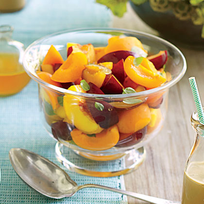 Fruit Salad with Citrus-Basil Syrup
