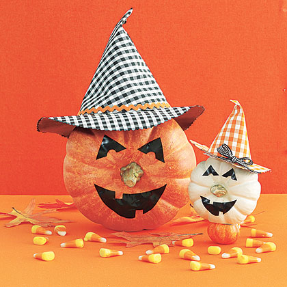Try a new angle by turning the pumpkin on its side and—voilà!—the stem serves as a funny nose.