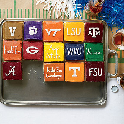 White Sheet Cake RecipeThis easy white sheet cake  is perfect for tailgating season when you decorate each square with the colors and logos of your favorite teams.