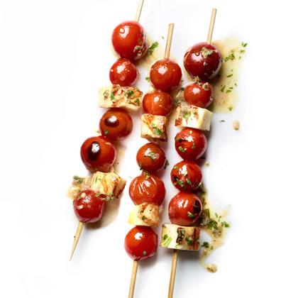 <p>Cherry Tomato-Halloumi Skewers</p>