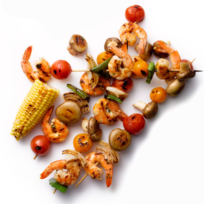 <p>Grilled Shrimp-and-Vegetable Kebabs</p>