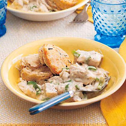 Chicken Potpie with Chive Biscuits