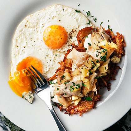Crisp Latkes with Chicken Confit and Eggs