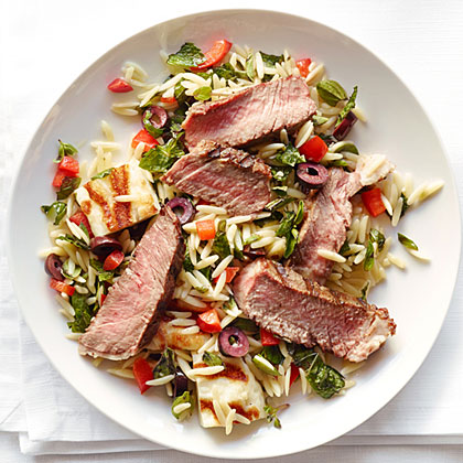 Grilled Rib-Eye with Olive Tapenade and Orzo