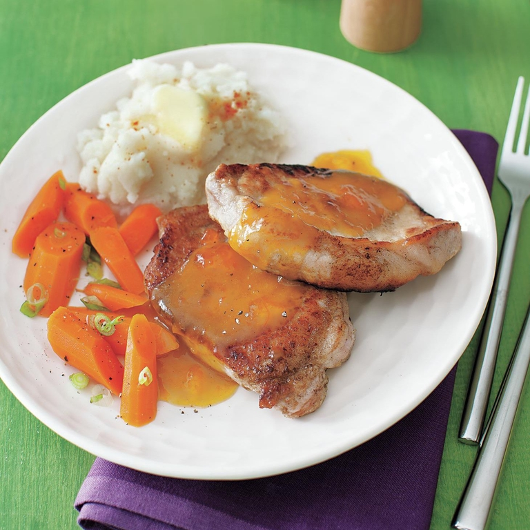 Pork Cutlets with Apricot-Mustard Sauce