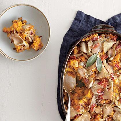 Butternut Squash au Gratin with Wild Mushrooms and Crispy Bacon Recipe