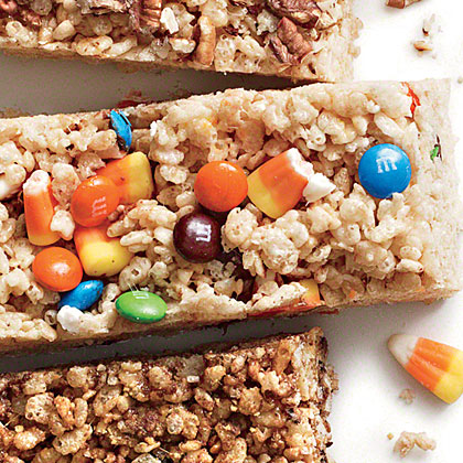 Candy Corn and M&M's Chewy Crispy BarsRecipe