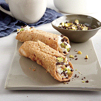 Chocolate-Dipped Cannoli with Pistachios Recipe