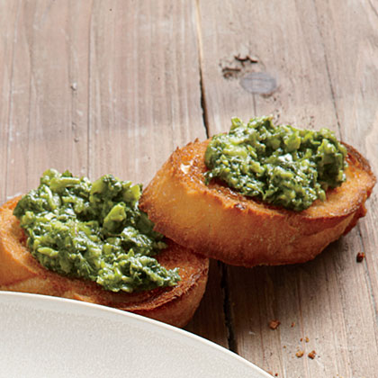 ck-Mint and Pea Pesto on Toasted Baguette