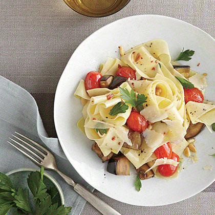 Pasta with Eggplant, Pine Nuts, and Romano Recipe
