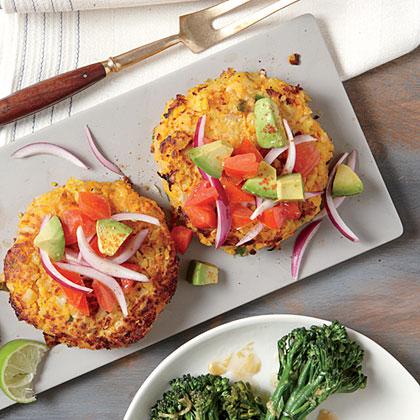 Sweet Potato and Chickpea Cakes with Avocado Salsa Recipe