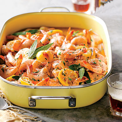 Beer-Braised BBQ Shrimp RecipeFor rich and flavorful results, we popped a top of lager and poured over our seafood for Beer-Braised BBQ Shrimp.