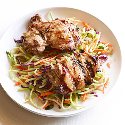 Grilled Thai Chicken Thighs with Spicy Broccoli Slaw