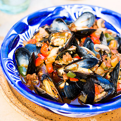 Mexican Mussels with Sausage, Mushrooms, and ChilesRecipe