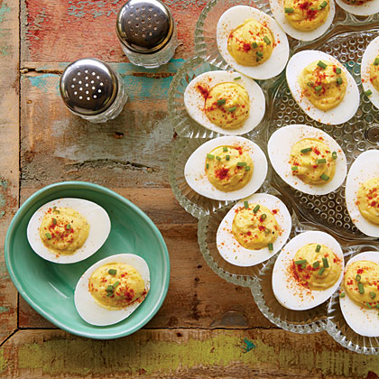 Deviled Eggs RecipeTo keep these portable snacks from turning on their sides when serving, use a deviled egg tray.