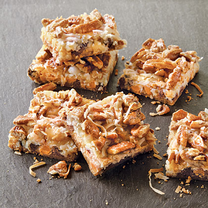 Magic Cookie Bars RecipeThese are also known as seven-layer or Hello Dolly bars. They take 30 minutes of hands-on prep and call for just eight ingredients, making them the perfect dessert for taking, well, just about anywhere!