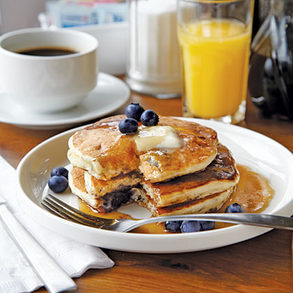 Peach and Blueberry Pancakes Recipe