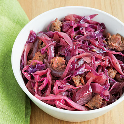 Red Cabbage with Sausage & Apples