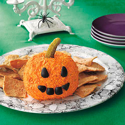 Jack-o'-Lantern Cheese Ball Recipe