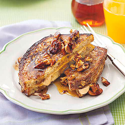 Pumpkin-Stuffed French Toast RecipeThis fall-inspired recipe is stuffed with serious pumpkin flavor and infused with cinnamon, nutmeg, and light brown sugar, taking traditional french toast up a notch.