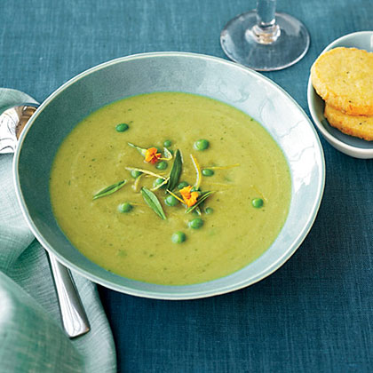 Asparagus Soup with Parmesan Shortbread Coins Recipe