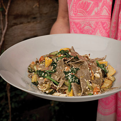 Buckwheat Pasta with Summer Squash, Tomatoes and Ricotta