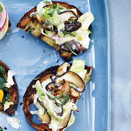 Cabbage-and-Mushroom Toasts