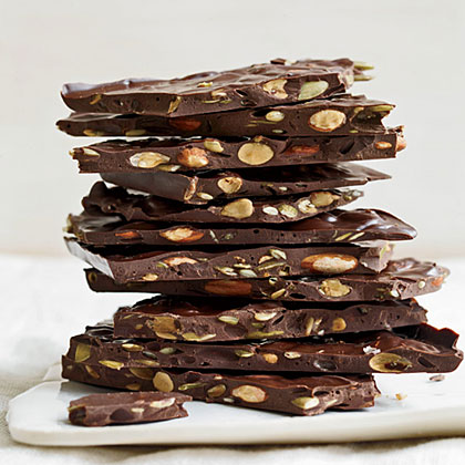 Dark Chocolate Bark with Roasted Almonds and Seeds