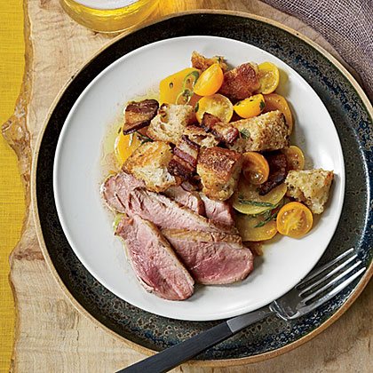 Dry-Aged Duck Breasts with Golden Beet Panzanella