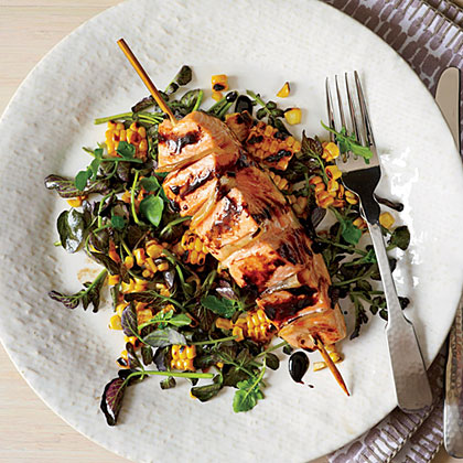 Gingered Salmon with Grilled Corn and Watercress SaladRecipe