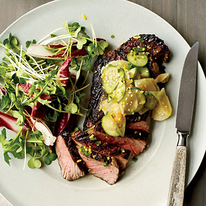 Grilled Steak with Cucumber-and-Daikon Salad Recipe