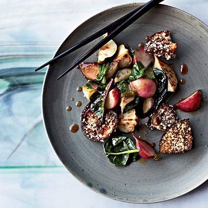 Honey-Soy-Glazed Vegetables with Crispy MushroomsRecipe