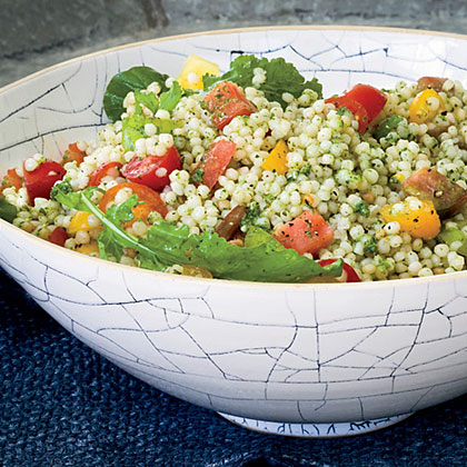 Israeli Couscous and Tomato Salad with Arugula PestoRecipe