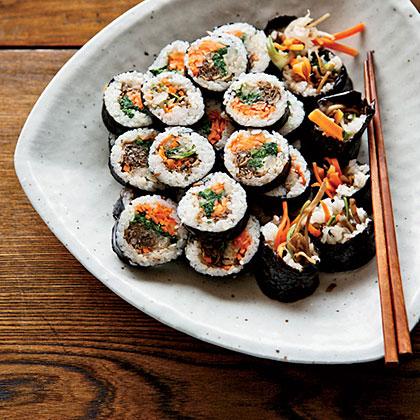 Korean Sushi Rolls with Walnut-Edamame Crumble Recipe